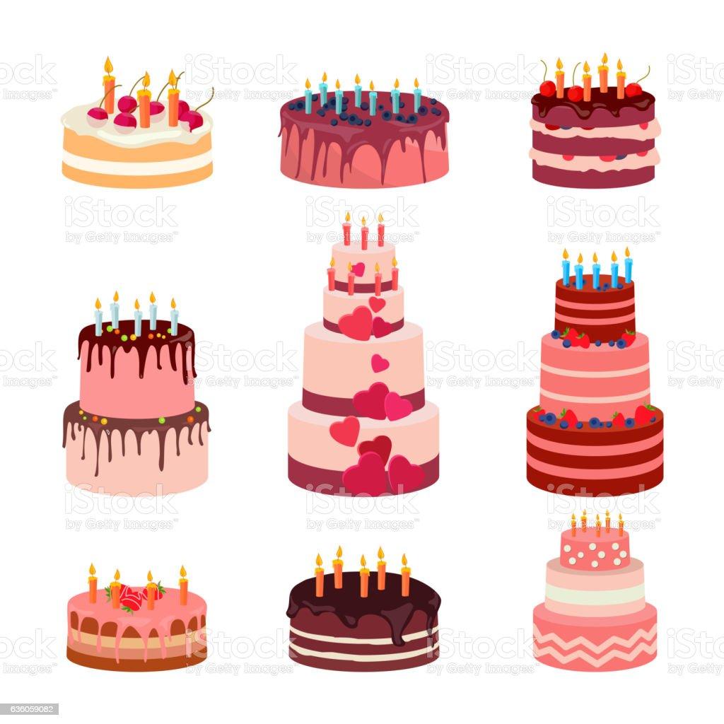 Illustration of sweet baked isolated cakes set. Strawberry icing cake