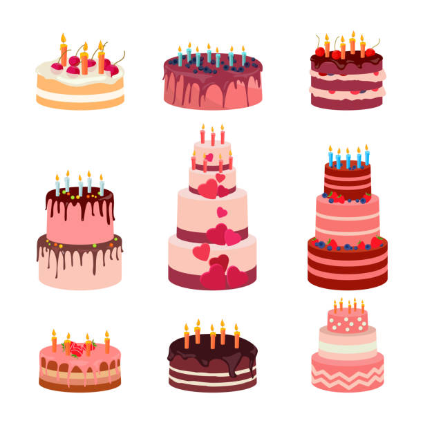 Illustration of sweet baked isolated cakes set. Strawberry icing cake Illustration of sweet baked isolated cakes set. Strawberry icing cake for holiday, cupcake, baked brown chocolate cake for gourmet, colorful birthday celebration cherry cake bakery with . Birthday cake with candles and fruits on white background. Vector wedding cake stock illustrations