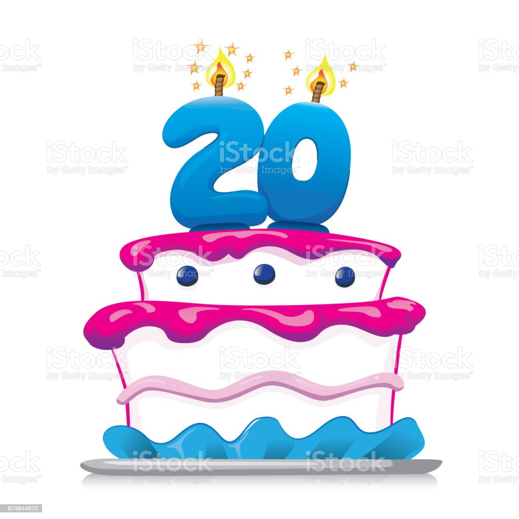 Illustration of sweet food birthday cake 20 years. Ideal for commemorative and institutional information vector art illustration