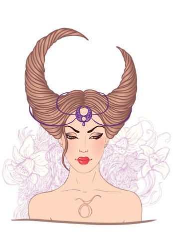 Illustration of taurus astrological sign as a beautiful girl