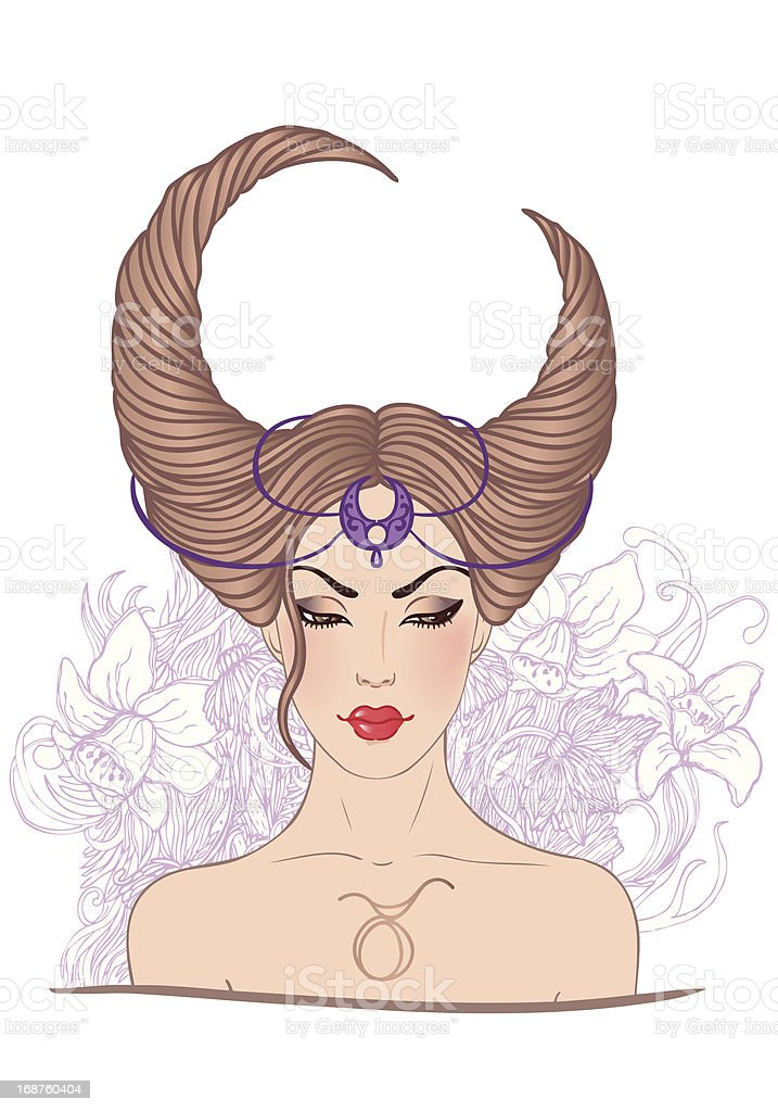 Illustration of taurus astrological sign as a beautiful girl vector art illustration