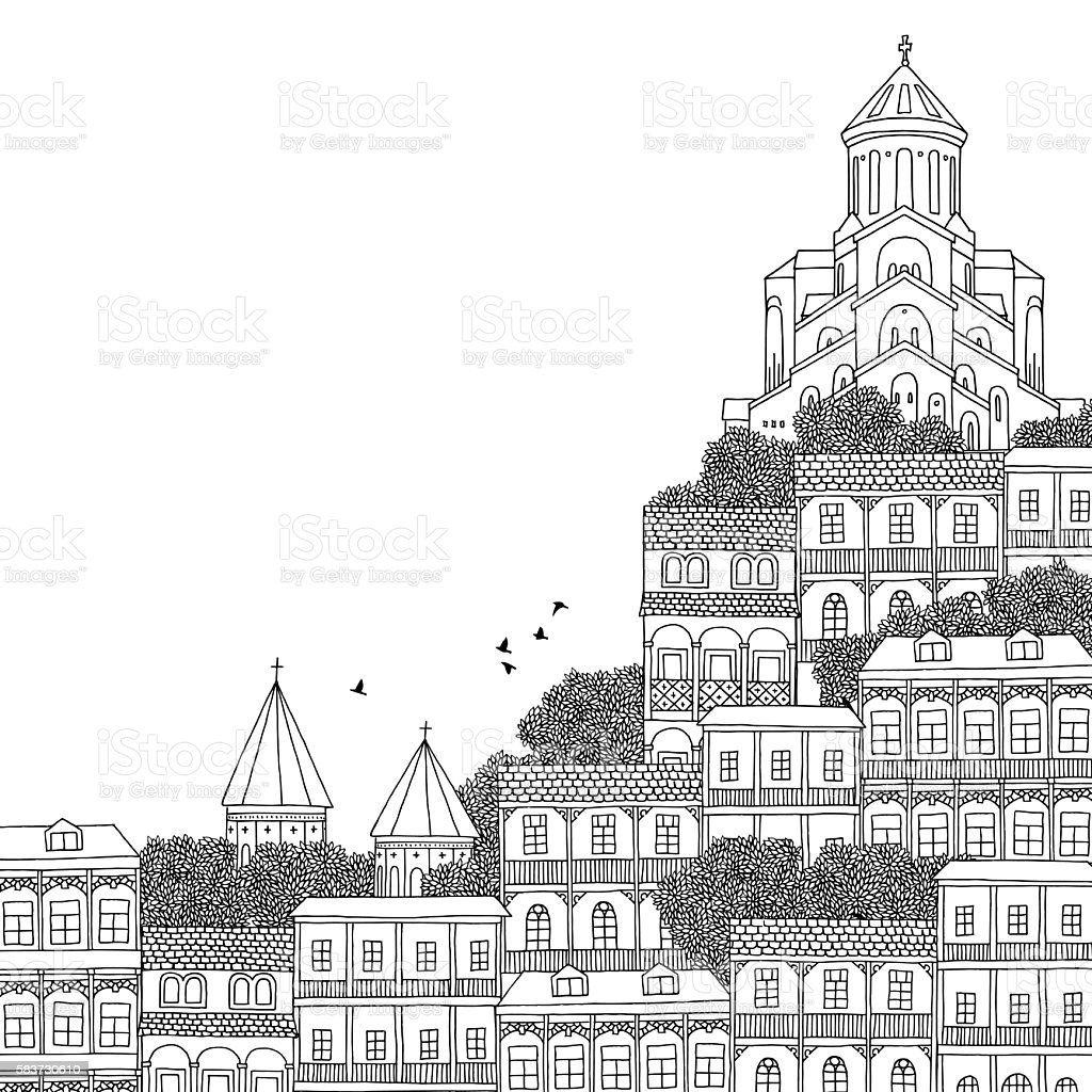 Illustration of Tbilisi with space for text vector art illustration