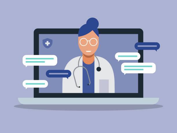 ilustraciones, imágenes clip art, dibujos animados e iconos de stock de ilustración del médico de telemedicina visita examen médico en la computadora portátil - telehealth