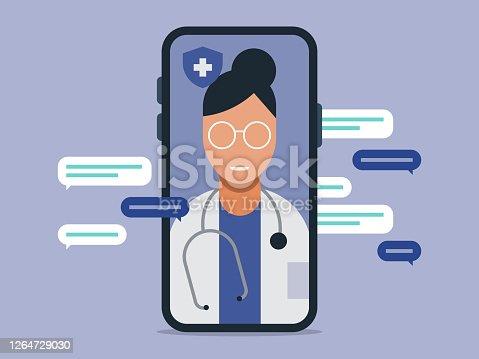 istock Illustration of telemedicine doctor visit medical exam on smart phone 1264729030