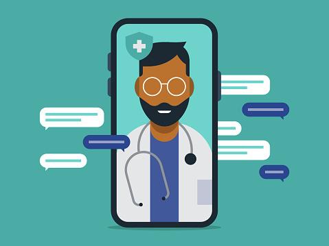 Illustration of telemedicine doctor visit medical exam on smart phone