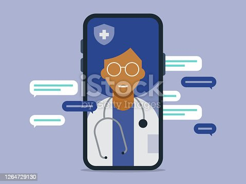 istock Illustration of telemedicine doctor visit medical exam on smart phone 1264729130