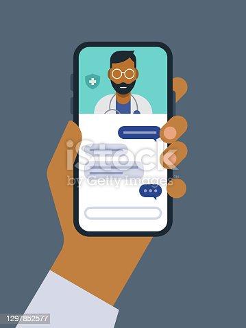 istock Illustration of telemedicine doctor visit medical exam on smart phone 1297852577