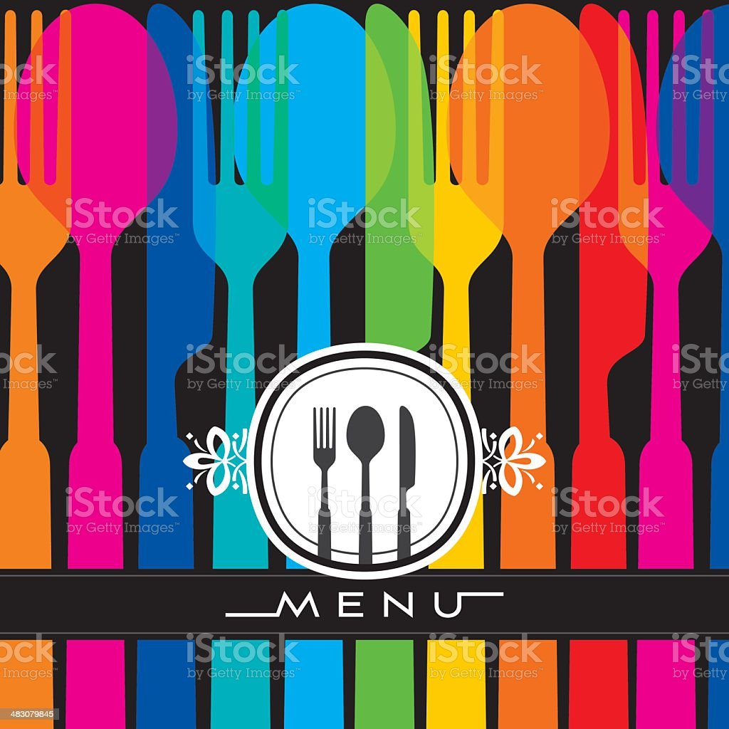 illustration of template for menu card with cutlery vector art illustration