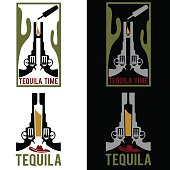 illustration of tequila with guns and cactus