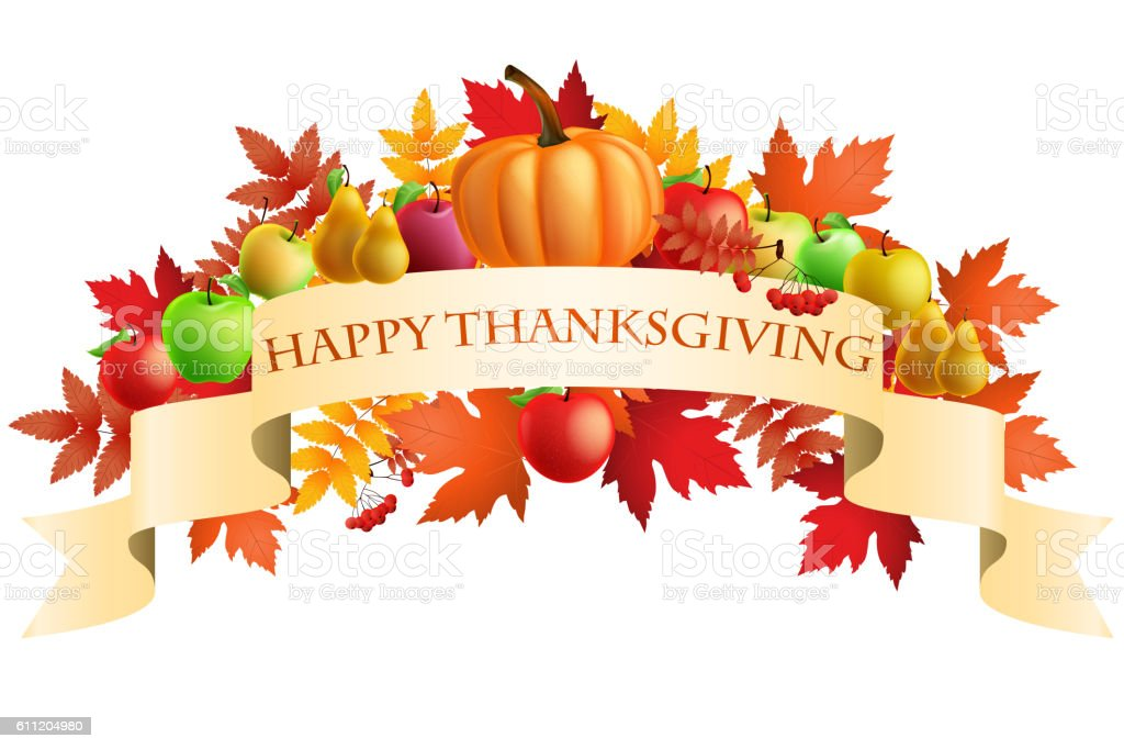 illustration of Thanksgiving celebration banner with maple leaf vector art illustration