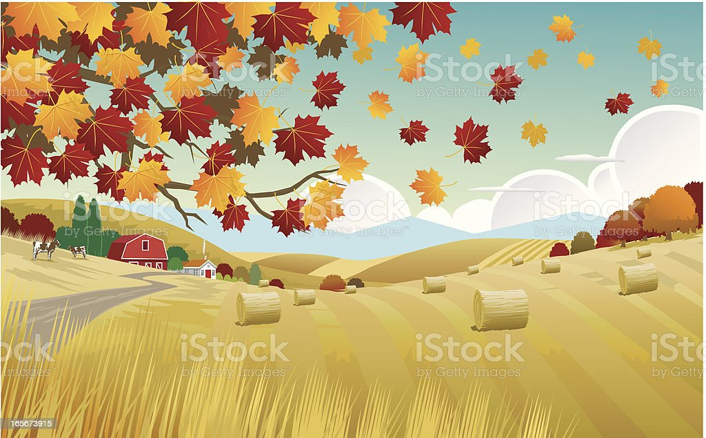 Illustration of the Autumn countryside vector art illustration