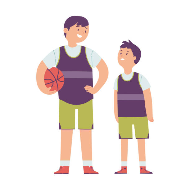 stockillustraties, clipart, cartoons en iconen met illustratie van het karakter van een kind dat groei beperkingen ervaart in vergelijking met zijn vriend, het kind ziet zijn vriend die groter is dan hij - lang lengte