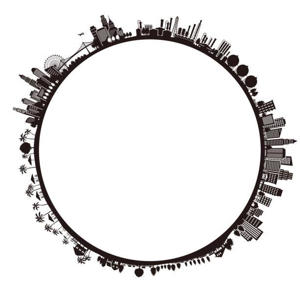 都市の景観、地球の図 - 地球 日本点のイラスト素材/クリップアート素材/マンガ素材/アイコン素材