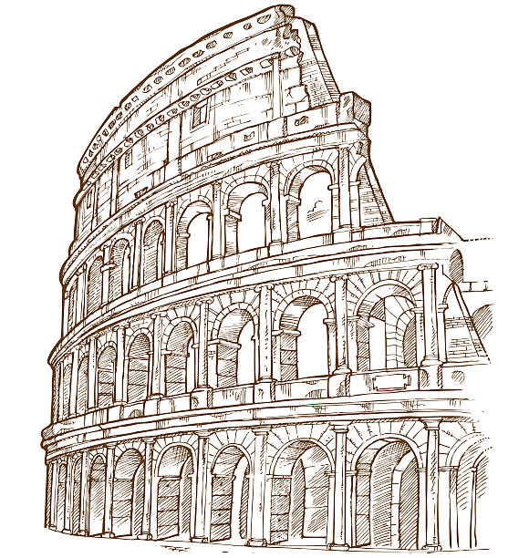 Illustration of the colosseum in brown and white vector art illustration