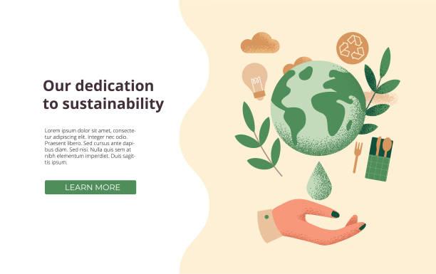 可持續發展、企業社會責任或環境保護概念的例證。 - 大自然 幅插畫檔、美工圖案、卡通及圖標