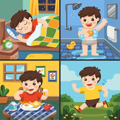 Boy in the bathroom stock vector. Illustration of kids