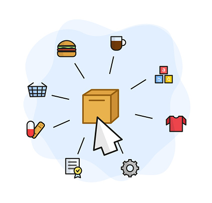 Illustration of the delivery of goods. A box with a cursor around a hamburger, coffee, game blocks, a T-shirt, gear, a tablet and a patch, a shopping basket. Illustration food, drinks, baby products