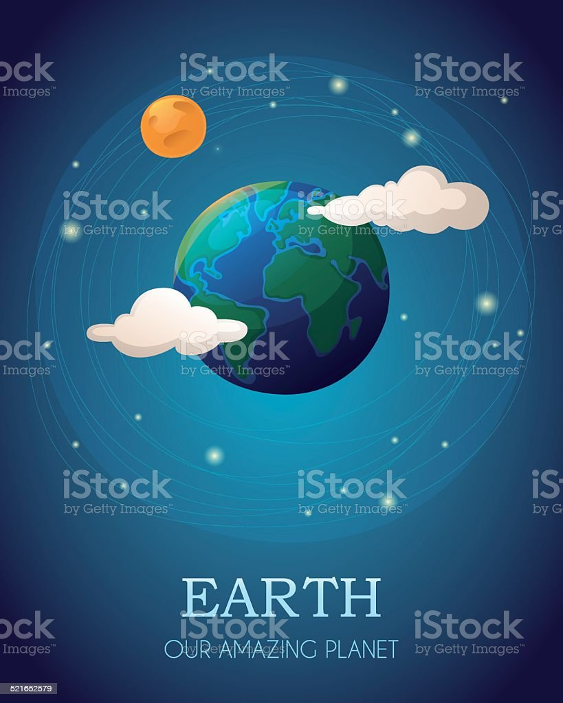 Illustration of the Earth with the Moon and clouds vector art illustration