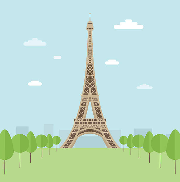 Illustration of the Eiffel Tower surrounded by trees Flat style. Vector contains transparent objects and clipping mask. eiffel tower stock illustrations