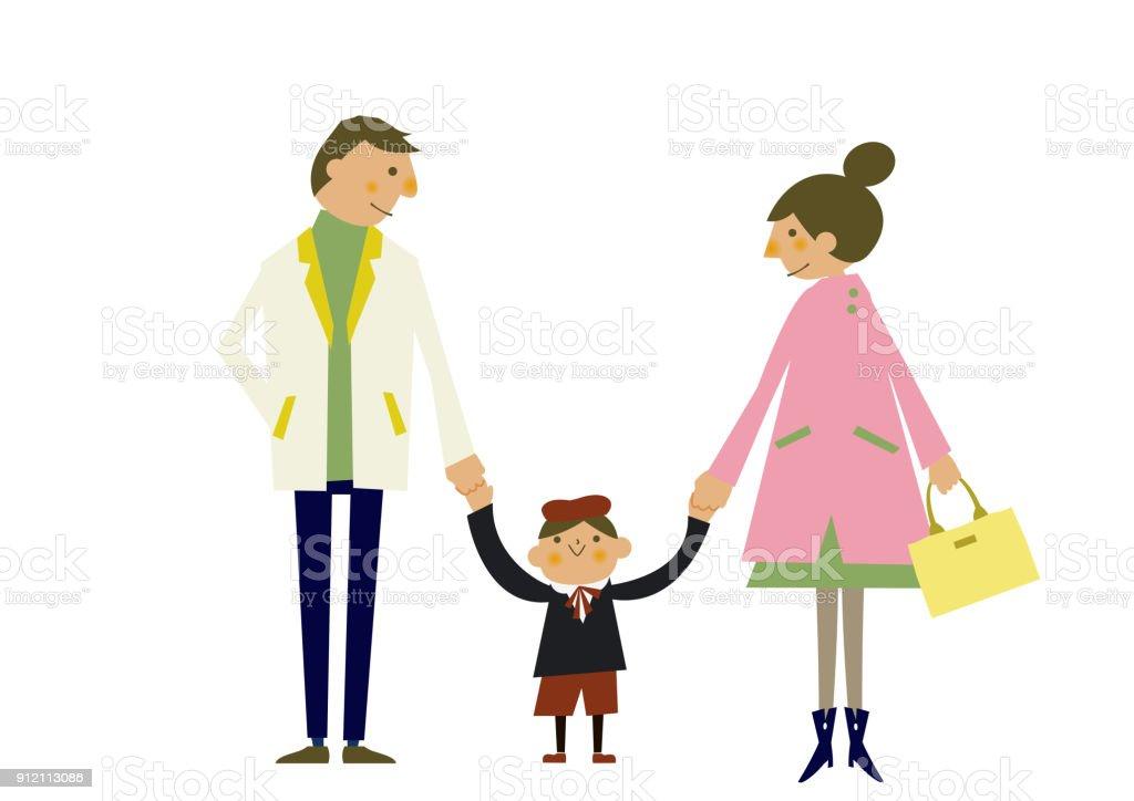 春服の家族のイラスト季節のクリップアート親と子春のクリップアート家族
