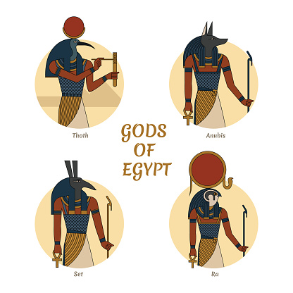 Illustration of the gods and symbols of ancient Egypt isolated against the background of the scarab beetle. Egyptian gods Thoth, Anubis, Ra and Set. Vector illustration. Gods of Egypt.