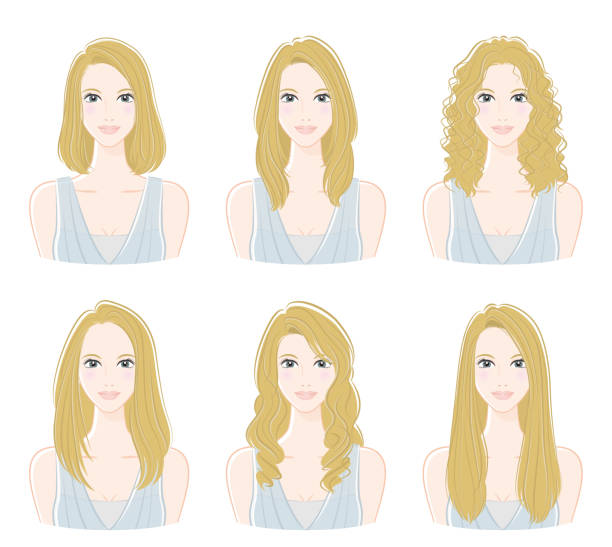 stockillustraties, clipart, cartoons en iconen met illustratie van het kapsel - blond curly hair