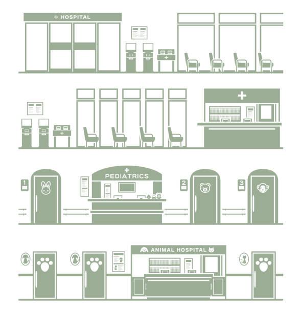 病院のイラスト シルエット/ - 診察室点のイラスト素材/クリップアート素材/マンガ素材/アイコン素材