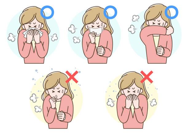 感染予防のイラスト「咳のエチケット」 - くしゃみ 日本人点のイラスト素材/クリップアート素材/マンガ素材/アイコン素材