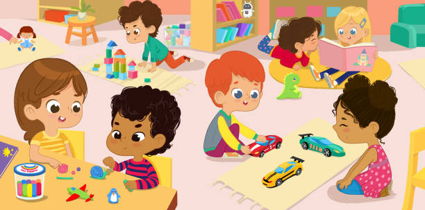Illustration of the kindergarten class and children's activity in the kindergarten. Multicultural Kids reading books, playing with wooden blocks and toy cars, sculpt clay figures. Illustration of the kindergarten class and children's activity in the kindergarten. Multicultural Kids reading books, playing with wooden blocks and toy cars, sculpt clay figures kinder stock illustrations