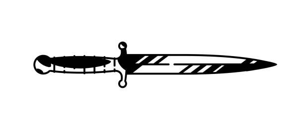 ilustraciones, imágenes clip art, dibujos animados e iconos de stock de ilustración del logo de la daga. vector. cuchillo militar pintado. dibujo gráfico contorno de blanco y negro. tatuaje. elemento decorativo para el diseño. - vaina