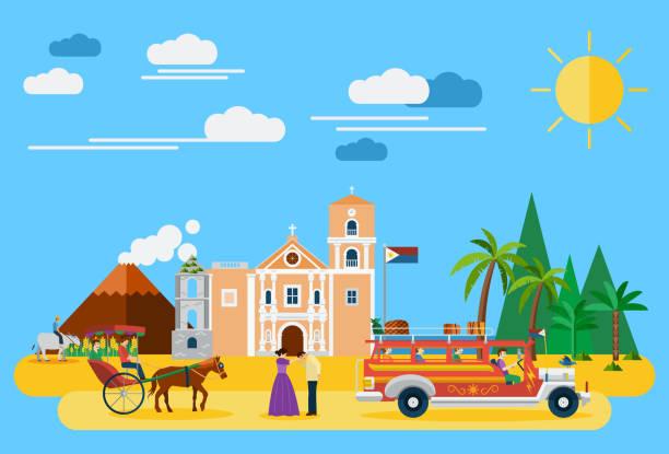 stockillustraties, clipart, cartoons en iconen met illustratie van de filipijnen's bezienswaardigheden en pictogrammen - filipijnen