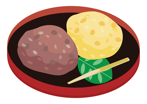 Illustration of the rice dumpling covered with bean jam.