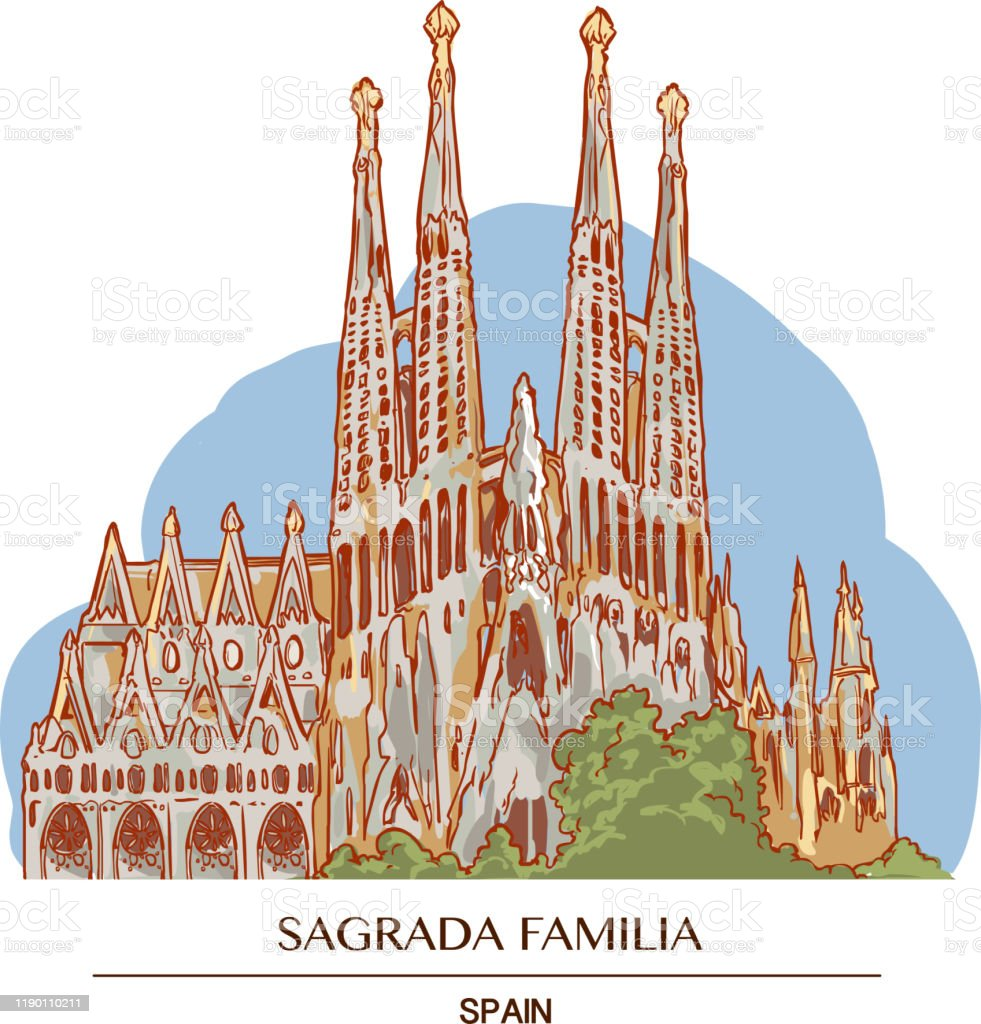 バルセロナのサグラダファミリアのイラスト イラストレーションのベクターアート素材や画像を多数ご用意 Istock