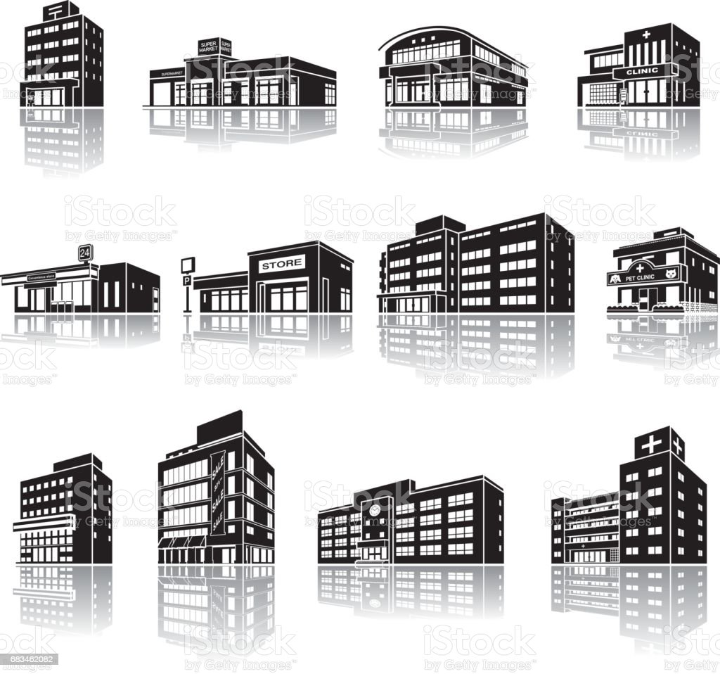 Illustration of the shadow of the building vector art illustration