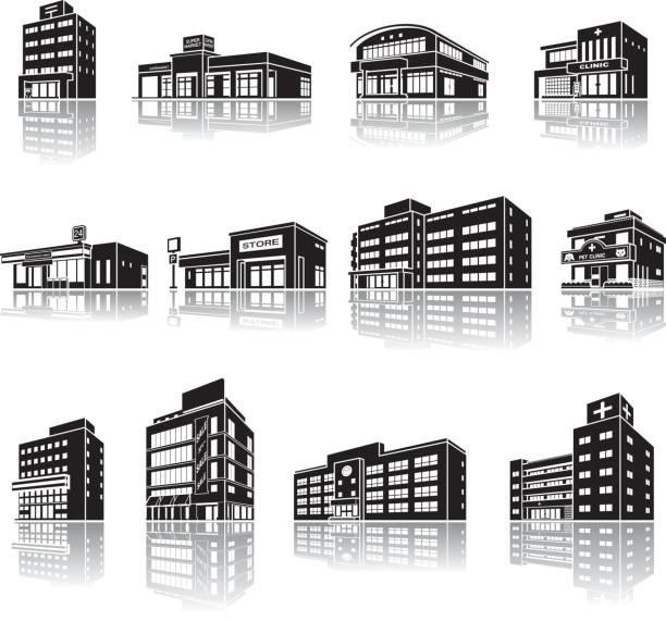 stockillustraties, clipart, cartoons en iconen met illustratie van de schaduw van het gebouw - warenhuis