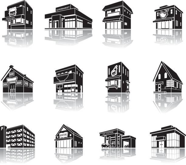 建物の影の図 - 美容室 3d点のイラスト素材/クリップアート素材/マンガ素材/アイコン素材