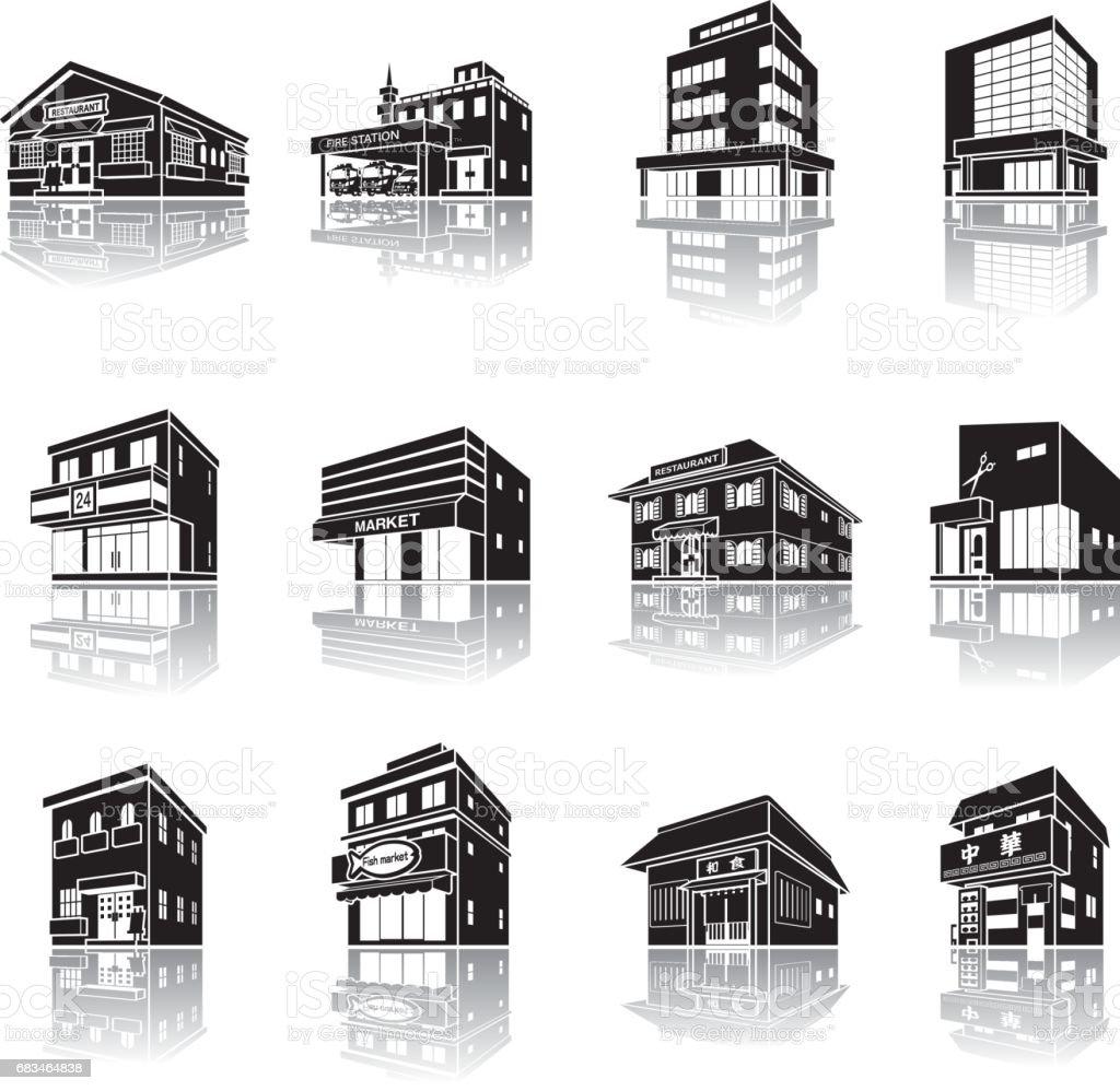 建物の影の図 - 3Dのロイヤリティフリーベクトルアート