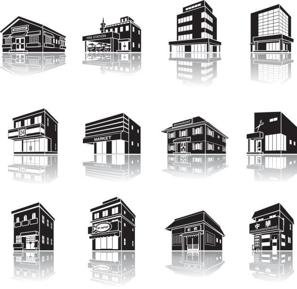 建物の影の図 - 美容室点のイラスト素材/クリップアート素材/マンガ素材/アイコン素材