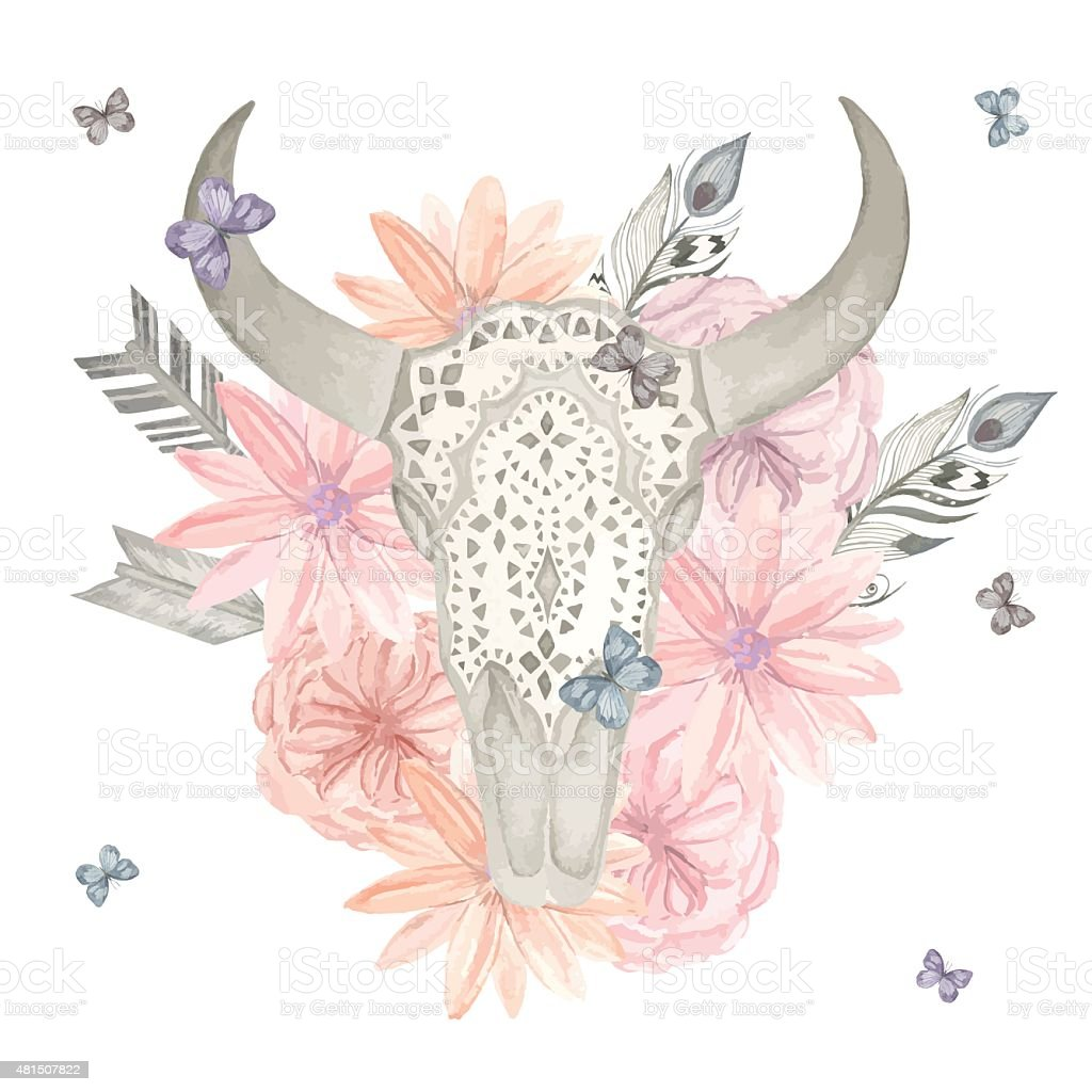Illustration of the skull of the bull in the colors vector art illustration
