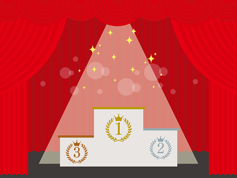 Illustration of the stage with the stage curtain open. The podium is in the spotlight.