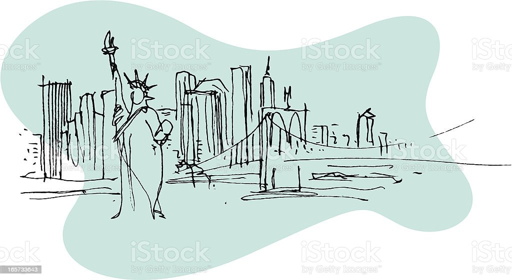 Illustration of the Statue of Liberty in New York royalty-free stock vector art