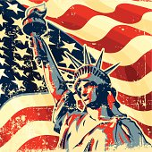 an editable vector illustration of statue of liberty with american flag.