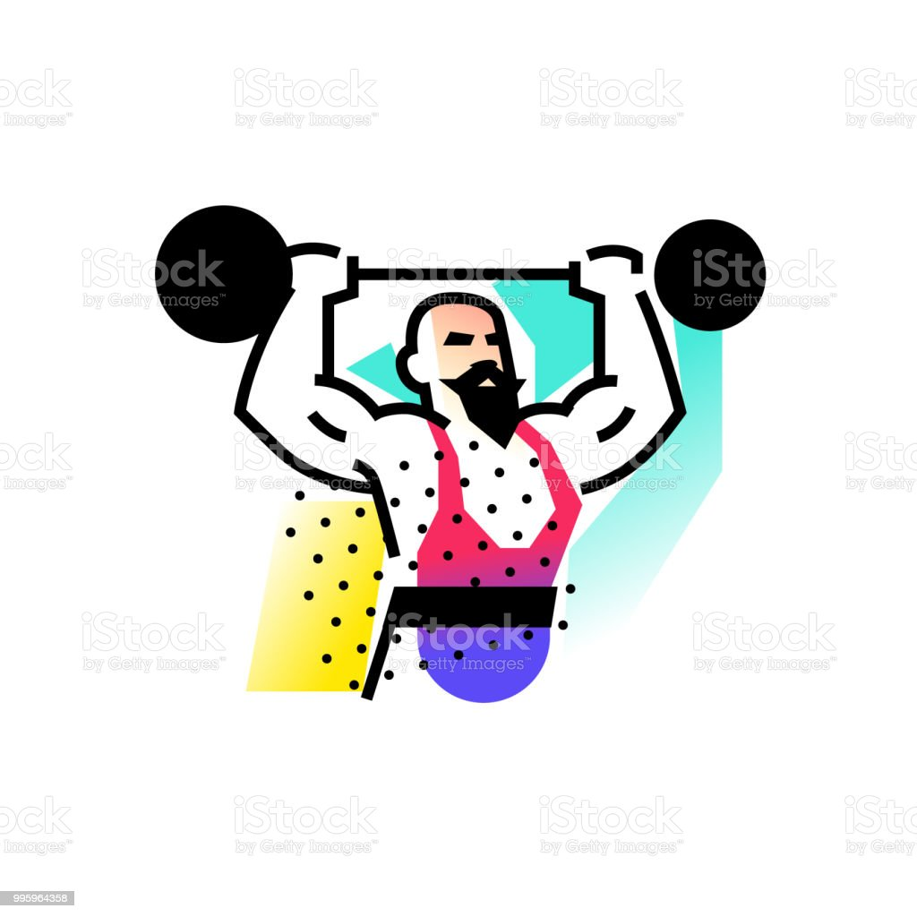 Illustration of the strongman, weightlifter, circus. Icon logo for circus or sports studio. An illustration for a site, a poster, a postcard. Image is isolated on white background. Vector illustration. vector art illustration