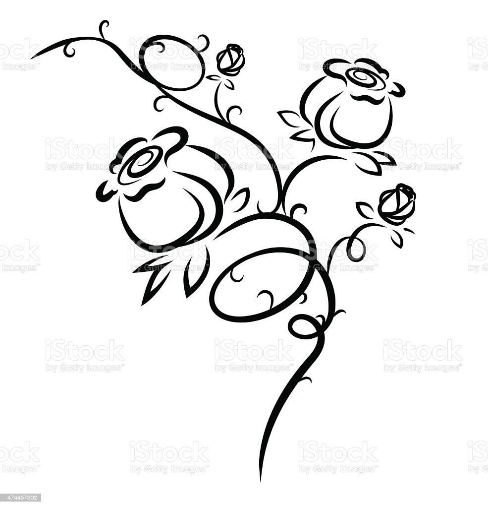 Fiori Stilizzati.Illustrazione Di Fiori Stilizzati Di Rosa Immagini Vettoriali