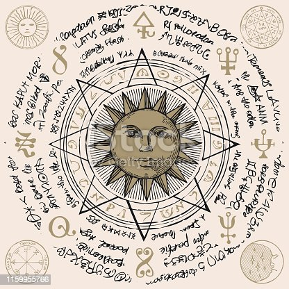 Illustration of the sun in an octagonal star with magical inscriptions and symbols on the beige background. Vector banner with old manuscript in retro style written in a circle.