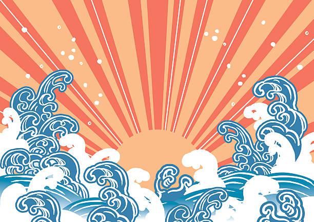 bildbanksillustrationer, clip art samt tecknat material och ikoner med illustration of the sun wave - japanskt ursprung