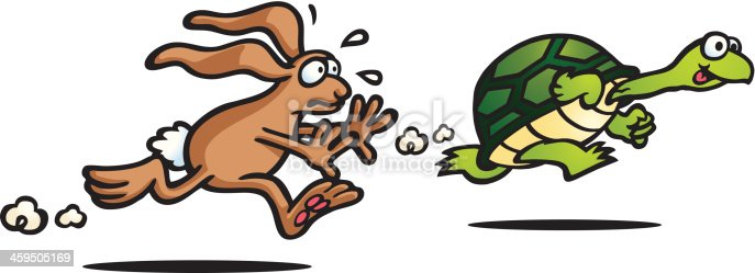 istock Illustration of The Tortoise and the Hare fable 459505169