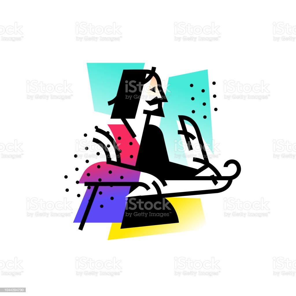 作家詩人のイラスト文学的なクラブのロゴのアイコンタトゥーサイト