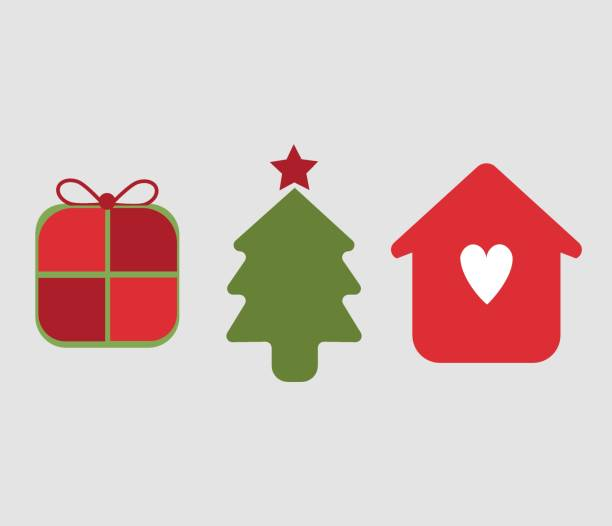 Illustration of thee icons, symbols of Christmas season. Christmas tree, gift package and home family with love. vector art illustration