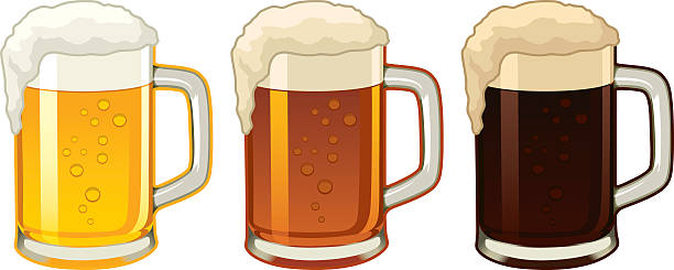 Illustration of three beer mugs containing different beers vector art illustration